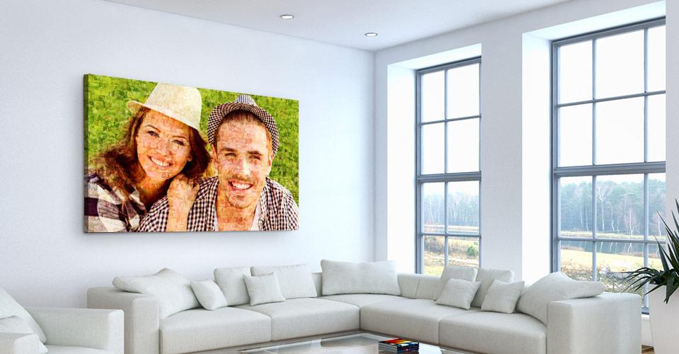 Mosaique photo imprimée sur toile