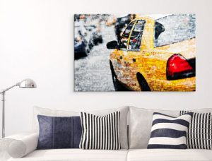 photo mosaique plexiglas sejour avec taxi