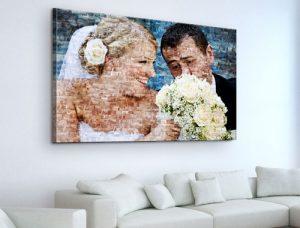 toile photo mosaique avec des jeunes mariés