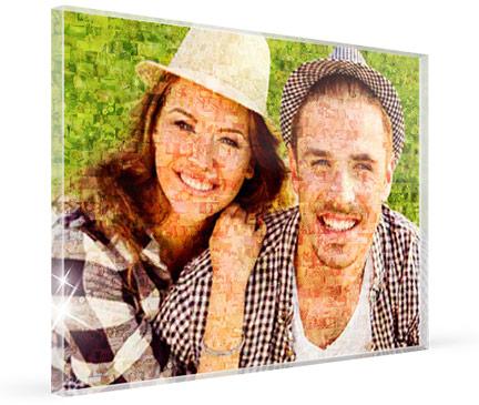 photo mosaique sur plexi avec un couple