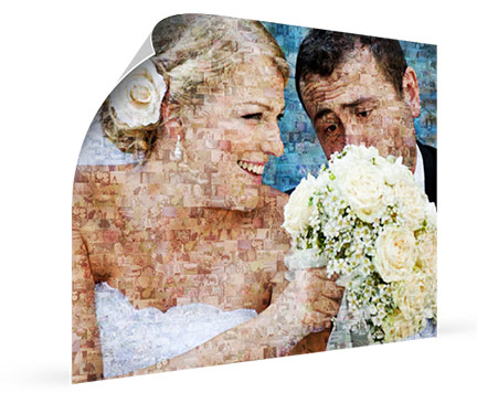 photo mosaique avec des jeunes mariés
