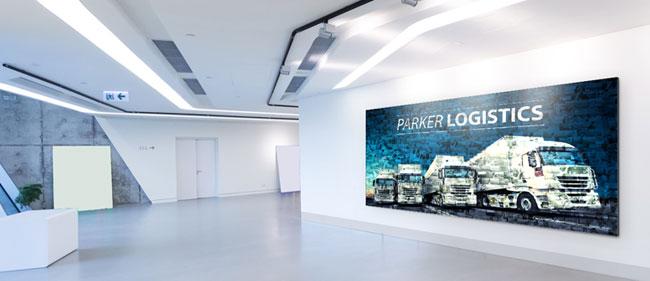 Mosaique photo dans l'entrée de l'entreprise