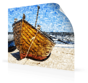 Mosaique photo poster bateau
