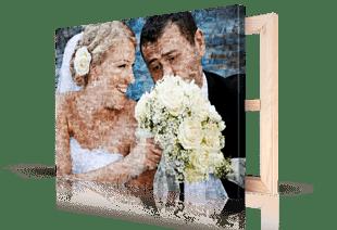 Mosaique photo toile couple mariage petite
