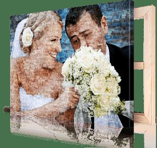 photo mosaique toile couple mariage