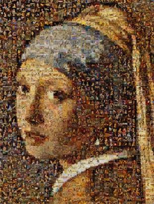 """Mosaique photo """"La jeune fille à la perle"""""""