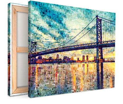 toile mosaique avec pont