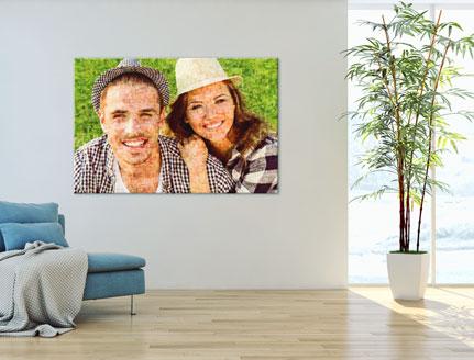 mosaique photo avec couple dans un sejour