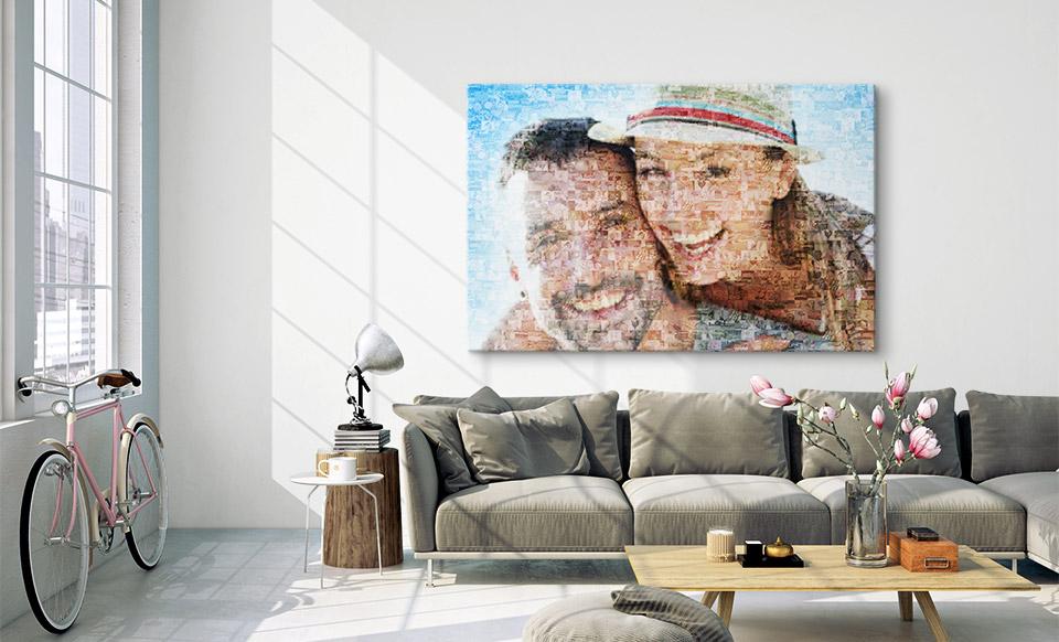tableau mosaique photo salon