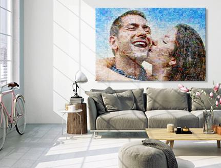 salon mosaique toile couple